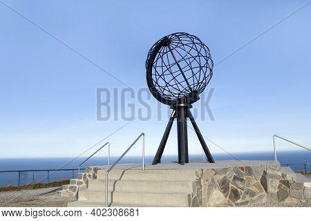 North Cape (nordkapp), Norway - September 25, 2017: Globe Monument In North Cape. Globe Monument Is