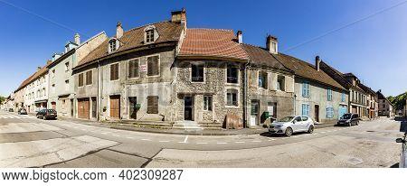 L-isle-sur-le-doubs, France - June 10, 2017: Typical Small Village L-isle-sur-le-doubs In France In