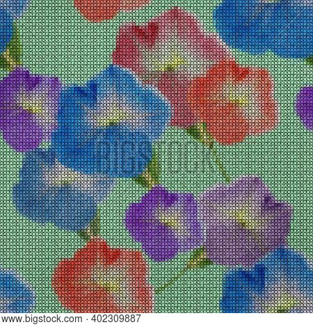 Illustration. Cross-stitch. Petunia Flowers. Texture Of Flowers. Seamless Pattern For Continuous Rep