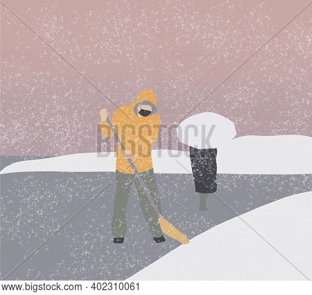 Man With Face Mask Clearing Snow From Path With Shovel After Snowstorm Yard. Workers Sweep Snow From