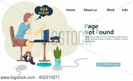 Banner, Oops 404 Error Page Not Found, Man Sitting On A Chair In Front Of A Laptop Standing On A Tab