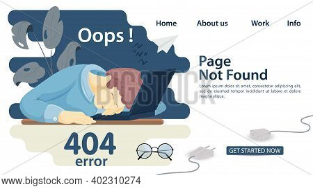 Banner, Oops, 404 Error, Page Not Found, Man Man Fell Asleep In Front Of Laptop, For Websites And Mo