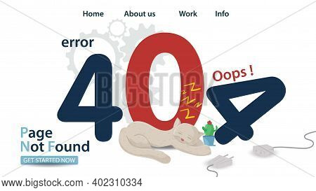 Banner, Oops 404 Error, Page Not Found, Animal Cat Sleeping On Numbers, For Website And Mobile App D