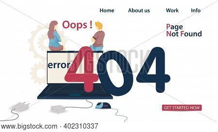 Banner, Oops 404 Error, Page Not Found, Man And Woman Sitting On Laptop, Back To Numbers, For Websit
