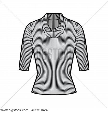 Ribbed Cowl Turtleneck Knit Sweater Technical Fashion Illustration With Elbow Sleeves, Close-fitting