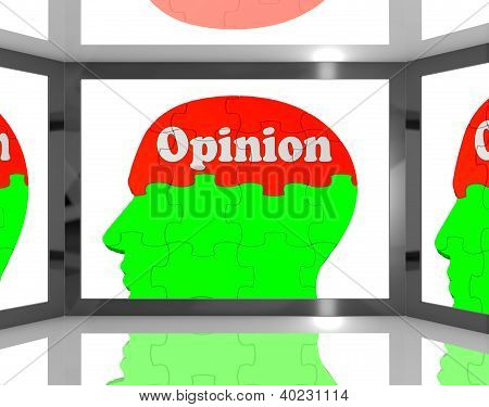 Opinion On Brain On Screen Showing Personal Opinion