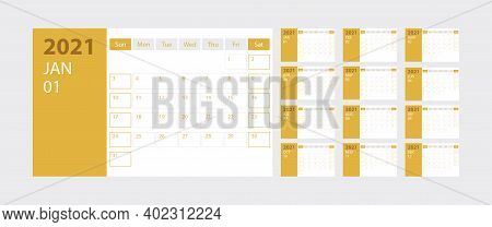Calendar 2021 Week Start Sunday Corporate Design Planner Template On Yellow Background, Stock Vector