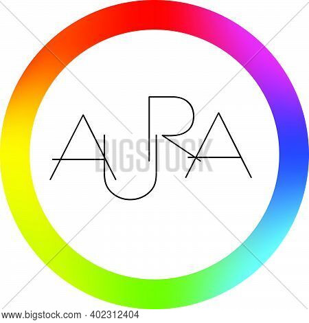 Circular Label With Aura Color Spectral Shift