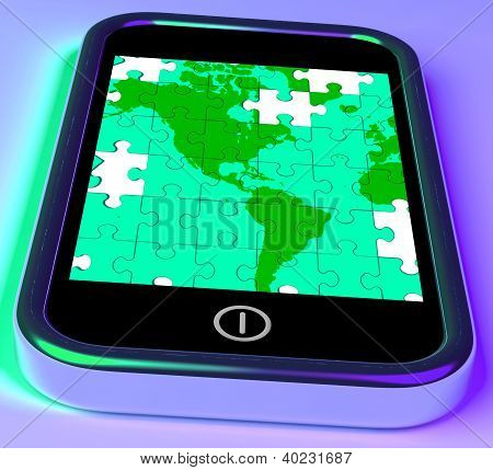 Map Of America On Smartphone Shows Mobile Global Communications