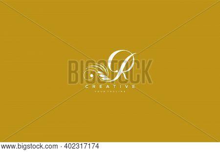 R Letter Luxury Flourishes Ornament Logogram Vector