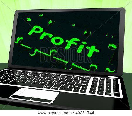 Gewinn auf Laptop zeigt profitable verdient