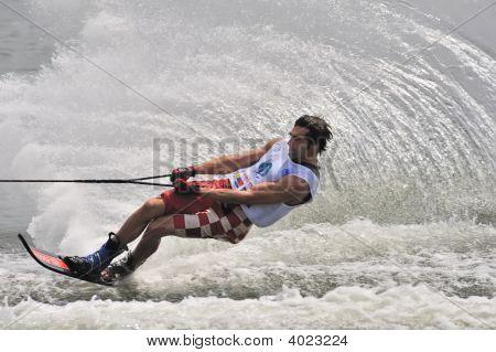 Water Ski In Action: Man Slalom