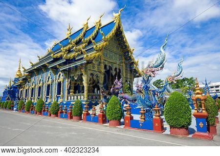 Chiang Ray, Thailand - December 16, 2018: Ubosot Of Buddhist Temple Of Wat Rong Sear Tean (blue Temp