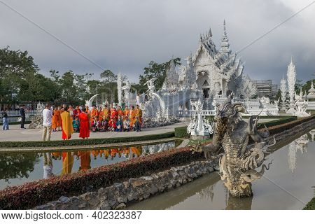 Chiang Ray, Thailand - December 16, 2018: A Group Of Buddhist Monks Are Photographed At The White Te