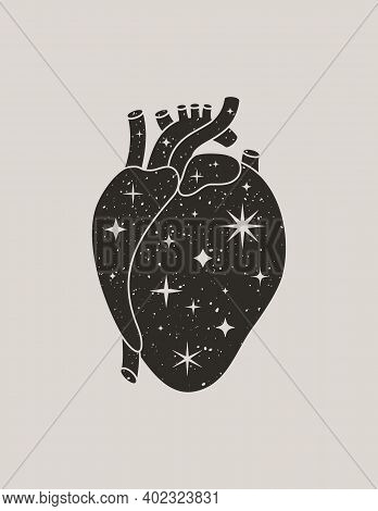 Mystic Black Heart In A Trendy Boho Style. Vector Silhouette Anatomical Heart With Stars