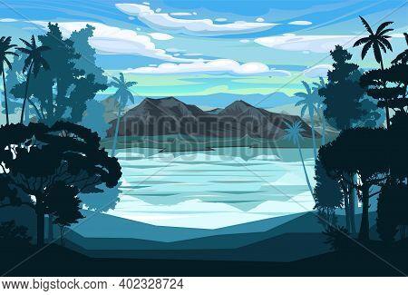 Mountain Landscape. Mountain View Through Jungle And Palms, Rainforest. Silhouette. Lake, Sea Bay. M