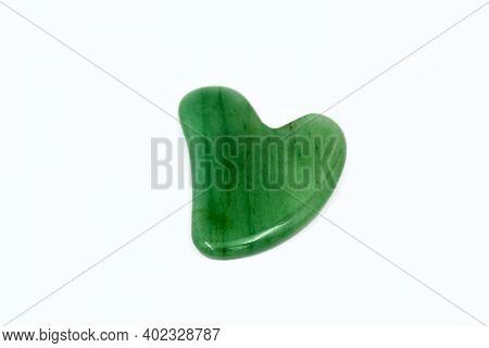 Green Gua Sha Body Scraping Massage Tool. Facial Natural Jade Stone Board Guasha Cure.