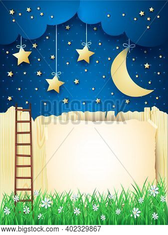 Surreal Landscape With Stairway, Moon And Copy Space. Vector Illustration Eps10