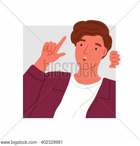 Surprised Teen Peeping Into Squared Frame Vector Flat Illustration. Amazed Male Teenager Searching O