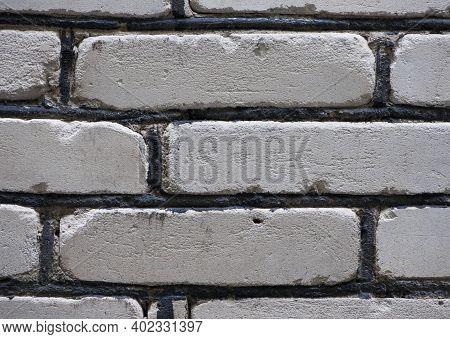 White Brick. Background Texture Structure, Facade Wall Close-up. White Brick Wall Background. Textur