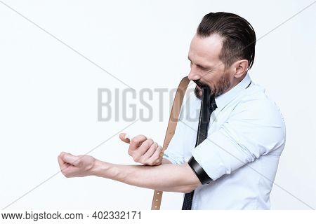 A Man Makes An Injection In His Hand.