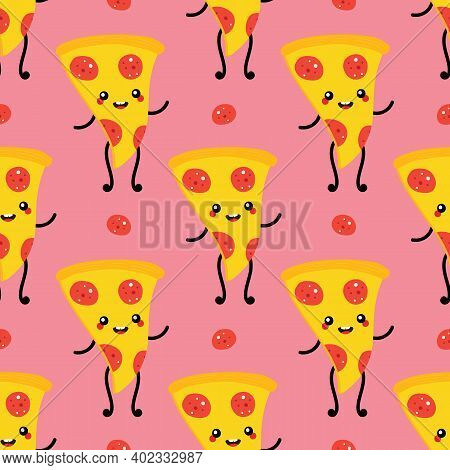 Cute And Funny Waving Pepperoni Pizza Slice Character Vector Seamless Pattern Background.