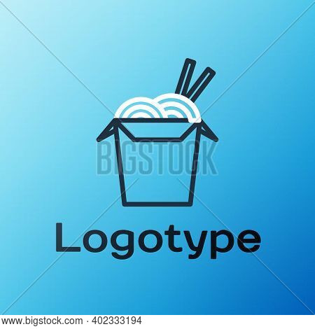 Line Asian Noodles In Paper Box And Chopsticks Icon Isolated On Blue Background. Street Fast Food. K