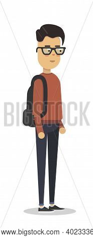 Flat Vector Illustration Of Student In Red Pullover With Backpack. Student Walk. Young Man Figure.
