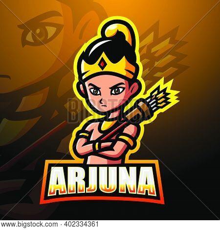 Vector Illustration Of Arjuna Mascot Esport Logo Design