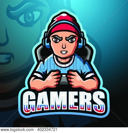 Vector Illustration Of Gamer Boy Mascot Esport Logo Design