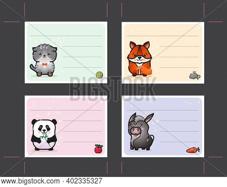 Label Set With Cute Animal For Kids. Docket Template. Vector.