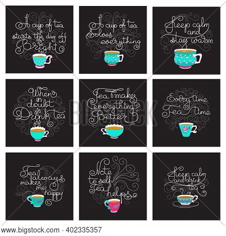 Tea Time. Set Of Hand Drawn Typography Cards. Circle Shape. White Line Lettering With Colorful Cups