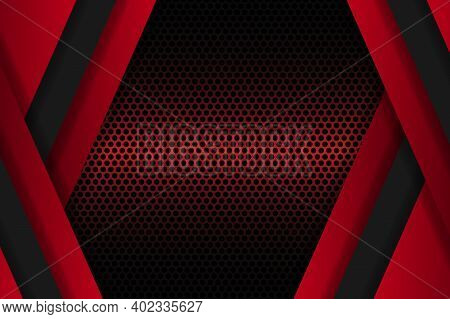 Dark Red Abstract Background With Carbon Fiber And Triangular Shapes. Black Carbon Textured Pattern.