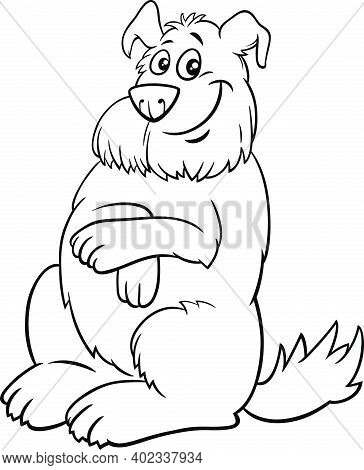 Black And White Cartoon Illustration Of Happy Shaggy Dog Comic Animal Character Coloring Book Page