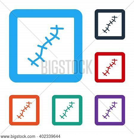 White Scar With Suture Icon Isolated On White Background. Set Icons In Color Square Buttons. Vector