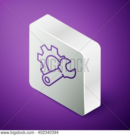 Isometric Line Wrench Spanner And Gear Icon Isolated On Purple Background. Adjusting, Service, Setti