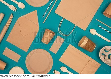 Flat Lay With Eco-friendly Tableware - Kraft Paper Food Packaging On Green Background. Street Food P
