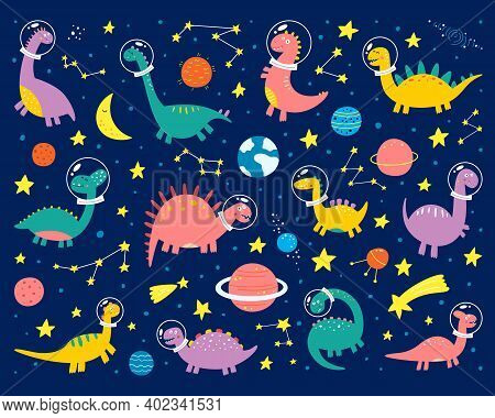 Space Dinosaurs In A Spacesuit Are Flying Into Space. Trendy Grunge Texture Or Print For Kids Design