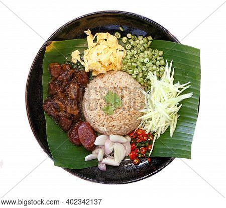 Thai Traditional Food - Rice Seasoned With Shrimp Paste Isolated On White