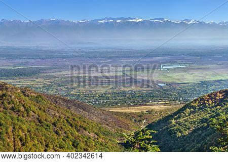 Panoramic View Of Alazani Valley And Caucasus Mountains From Sighnaghi, Kakheti, Georgia