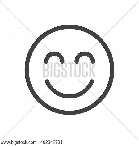 Smile Face Emoticon Icon Vector Illustration. Line Smile Icon