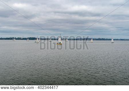 Puck, Poland - September 20, 2020: Bay Of Puck With Sailboats.