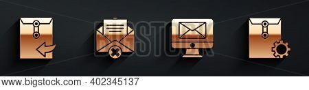 Set Envelope, Delete Envelope, Monitor And Envelope And Envelope Setting Icon With Long Shadow. Vect