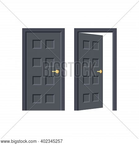 Black Door. Entrance Or Exit. Doorway Concept. Open And Close Door Isolated On White Background. Fla