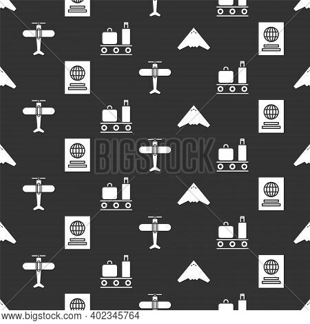 Set Jet Fighter, Passport, Plane And Airport Conveyor Belt With Suitcase On Seamless Pattern. Vector