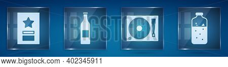 Set Greeting Card, Beer Bottle, Vinyl Player With A Vinyl Disk And Mulled Wine. Square Glass Panels.