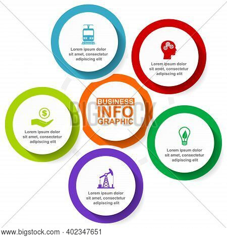 Infographic Vector Template For Presentation, Chart, Diagram, Graph, Business Concept With 5 Options