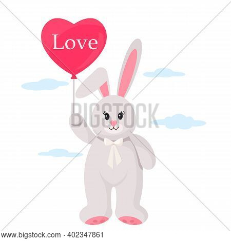 A Cute Plush Bunny Holding A Gel Balloon In The Form Of A Heart With The Inscription Love In Its Paw