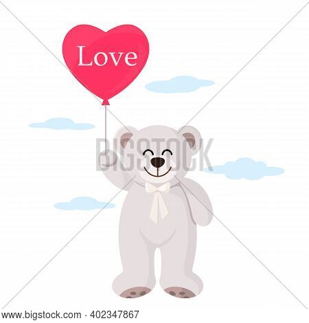 A Cute Teddy Bear Holding A Gel Balloon In The Form Of A Heart With The Inscription Love In Its Paw.