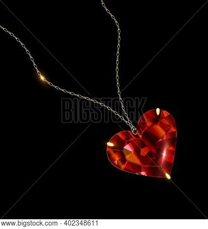 Black Background And Jewel Pendant Red Heart With Golden Chain